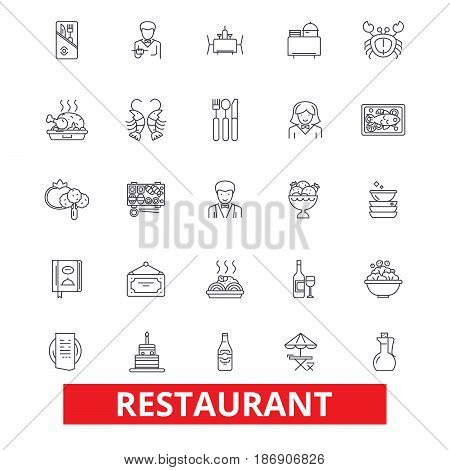 Restaurant, diner, menu, pub, culinary, bar, eating, cafe, food, cooking, dining line icons. Editable strokes. Flat design vector illustration symbol concept. Linear signs isolated on white background