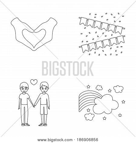 Hand with heart, flag, men.Gayset collection icons in outline style vector symbol stock illustration .