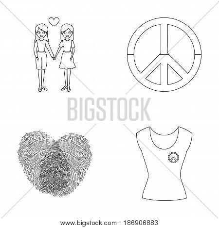 Lesbians, fingerprints, sign, dress.Gayset collection icons in outline style vector symbol stock illustration .