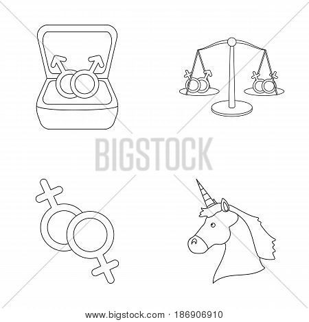 Rings, balance, feminism, unicorn.Gayset collection icons in outline style vector symbol stock illustration .