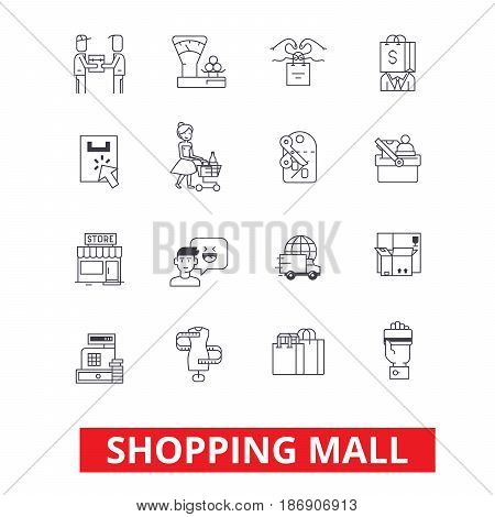 Shopping mall, online payment, retail sales, family shop, fashion store, purchases icons. Editable strokes. Flat design vector illustration symbol concept. Line signs isolated on white background