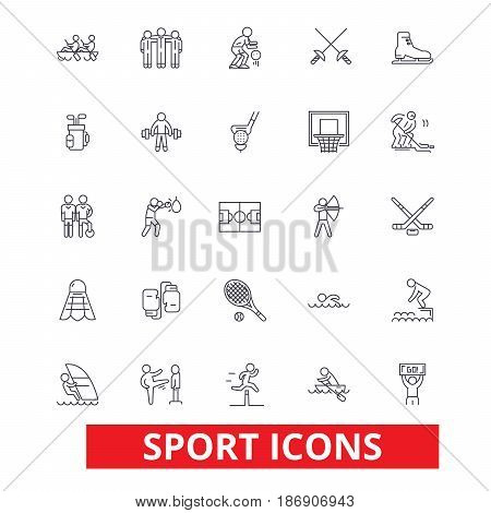 Sport,  football, soccer, box, hockey, running, athlete, training, gym, tennis line icons. Editable strokes. Flat design vector illustration symbol concept. Linear signs isolated on white background