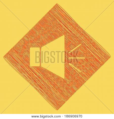 Sound sign illustration with mute mark. Vector. Red scribble icon obtained as a result of subtraction rhomb and path. Royal yellow background.