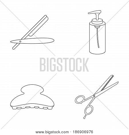 Razor, lotion, brush, scissors. Hairdresser set collection icons in outline style vector symbol stock illustration .