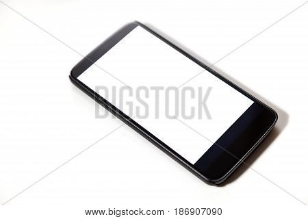 showing smartphone with blank screen. Isolated on white background