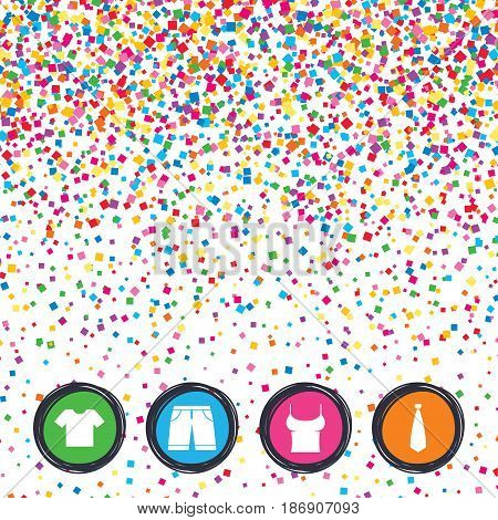 Web buttons on background of confetti. Clothes icons. T-shirt and bermuda shorts signs. Business tie symbol. Bright stylish design. Vector