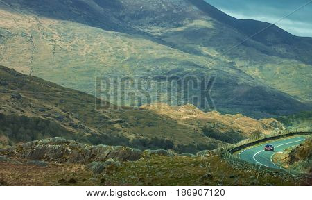 Road through the stunning scenery of the Ring of Kerry and Killarney National Park, Ireland