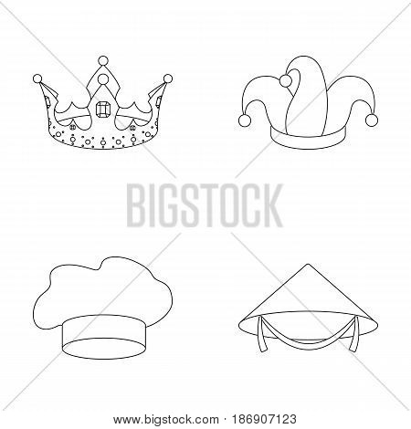 Crown, jester's cap, cook, cone. Hats set collection icons in outline style vector symbol stock illustration .