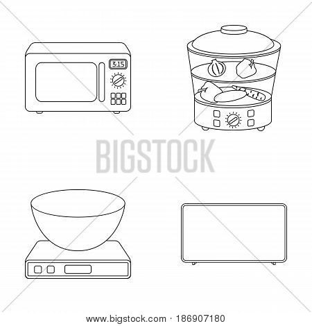 Steamer, microwave oven, scales, lcd tv.Household set collection icons in outline style vector symbol stock illustration .
