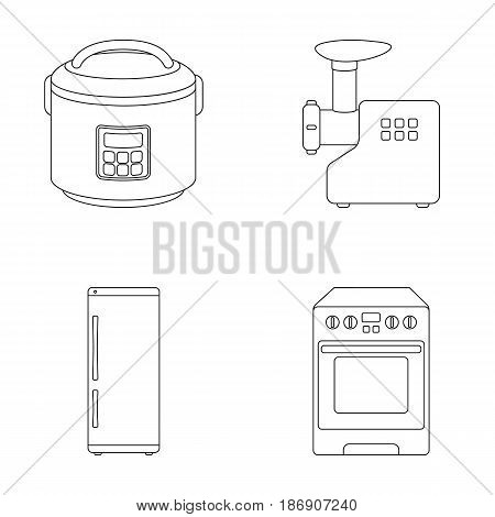 Multivarka, refrigerator, meat grinder, gas stove.Household set collection icons in outline style vector symbol stock illustration .