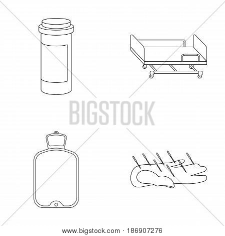 Heating pad, hospital gurney, acupuncture.Mtdicine set collection icons in outline style vector symbol stock illustration .
