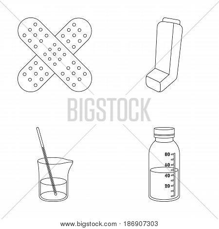 Plaster, inhaler, solution in a glass.Mtdicine set collection icons in outline style vector symbol stock illustration .