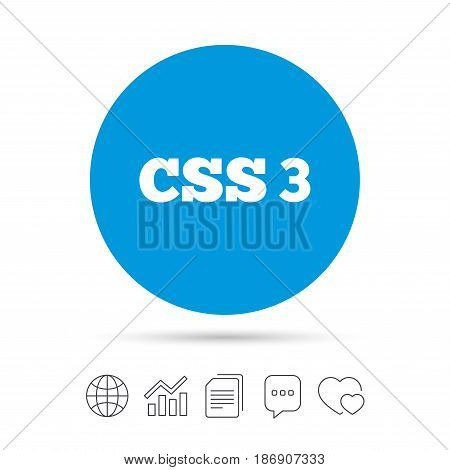 CSS3 sign icon. Cascading Style Sheets symbol. Copy files, chat speech bubble and chart web icons. Vector