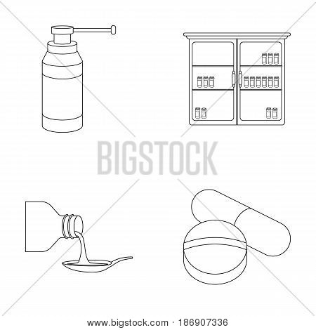 Inhaler, medical cabinet, tablets, syrup in a spoon.Mtdicine set collection icons in outline style vector symbol stock illustration .
