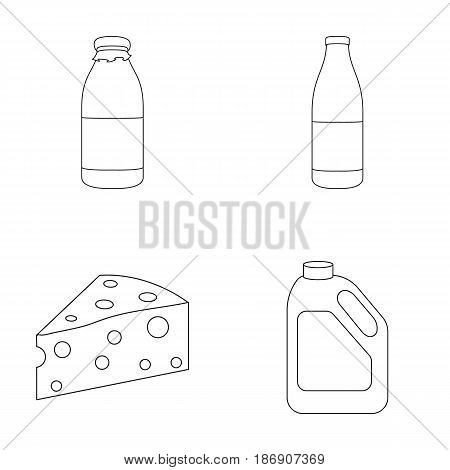 A bottle of kefir, a can, a piece of cheese. Moloko set collection icons in outline style vector symbol stock illustration .