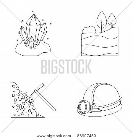 Crystals, coal seam, pickaxe, helmet with a lantern.Mine set collection icons in outline style vector symbol stock illustration .