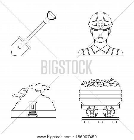 A shovel, a miner, an entrance to a mine, a trolley with coal.Mine set collection icons in outline style vector symbol stock illustration .