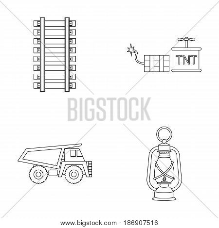 Ryllsy, vzryvchatka, dumper, lantern.Mine set collection icons in outline style vector symbol stock illustration .