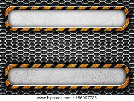 Dark Metal Grungy Background With Warning Lines, 3D, Illustration