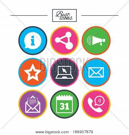 Communication icons. Contact, mail signs. E-mail, information speech bubble and calendar symbols. Classic simple flat icons. Vector