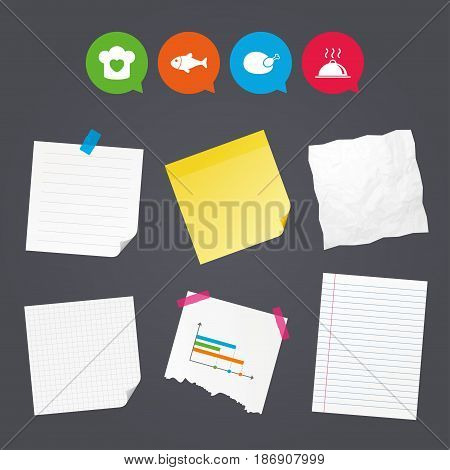 Business paper banners with notes. Chief hat with heart and cooking pan icons. Fish and chicken signs. Hot food platter serving symbol. Sticky colorful tape. Speech bubbles with icons. Vector