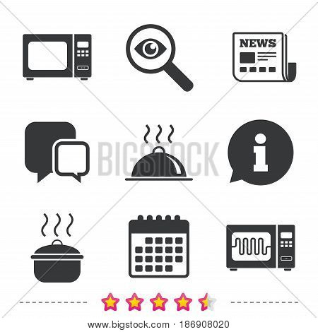 Microwave grill oven icons. Cooking pan signs. Food platter serving symbol. Newspaper, information and calendar icons. Investigate magnifier, chat symbol. Vector