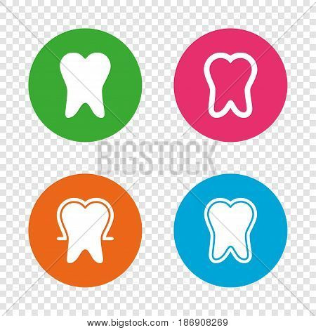 Tooth enamel protection icons. Dental care signs. Healthy teeth symbols. Round buttons on transparent background. Vector