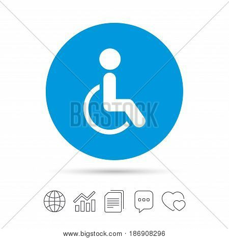 Disabled sign icon. Human on wheelchair symbol. Handicapped invalid sign. Copy files, chat speech bubble and chart web icons. Vector