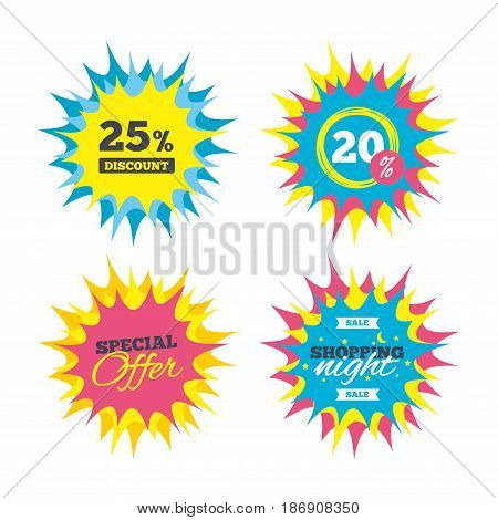 Shopping offers, special offer banners. 25 percent discount sign icon. Sale symbol. Special offer label. Discount star label. Vector
