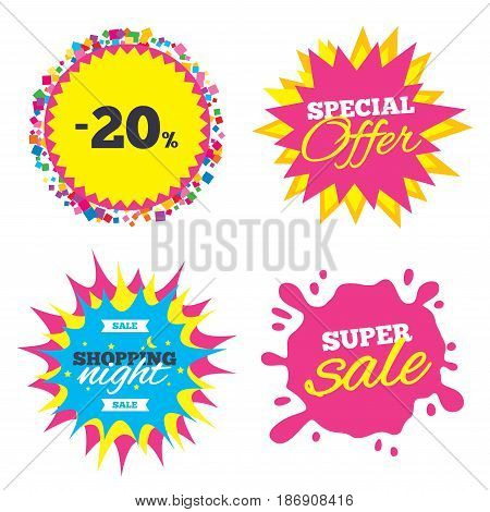 Sale splash banner, special offer star. 20 percent discount sign icon. Sale symbol. Special offer label. Shopping night star label. Vector