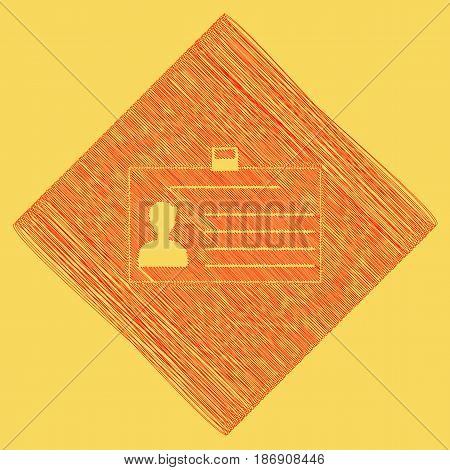 Identification card sign. Vector. Red scribble icon obtained as a result of subtraction rhomb and path. Royal yellow background.