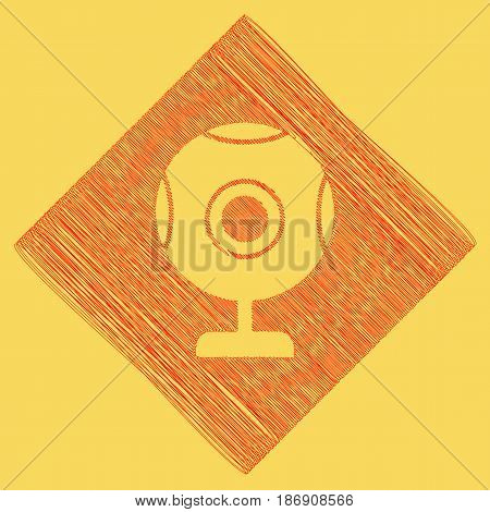 Chat web camera sign. Vector. Red scribble icon obtained as a result of subtraction rhomb and path. Royal yellow background.