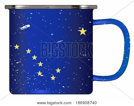 A typical blue coloured tin cup with white mottle FX over a white background and the Alaska flag