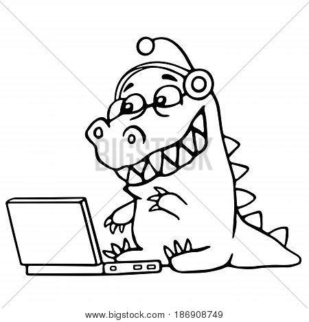 Cartoon croc played on laptop. Vector illustration. Digital drawing cute character.