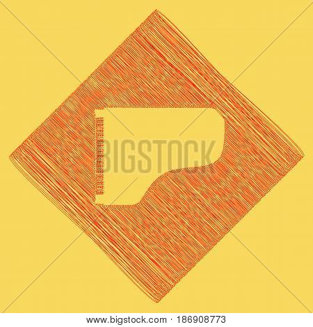 Concert grand piano sign. Vector. Red scribble icon obtained as a result of subtraction rhomb and path. Royal yellow background.