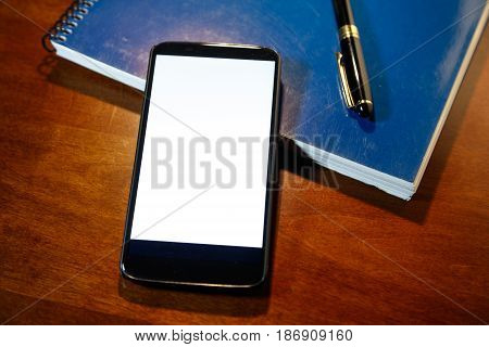 showing smartphone with blank screen. business communication concept.