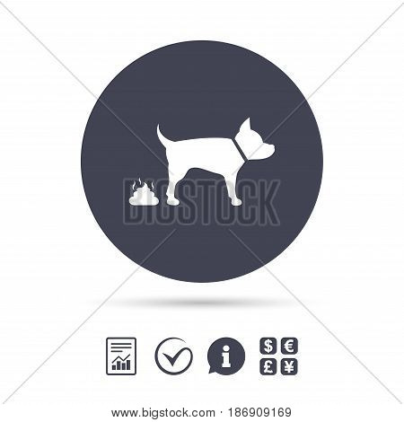 Feces sign icon. Clean up after pets symbol. Put it in the bag. Report document, information and check tick icons. Currency exchange. Vector