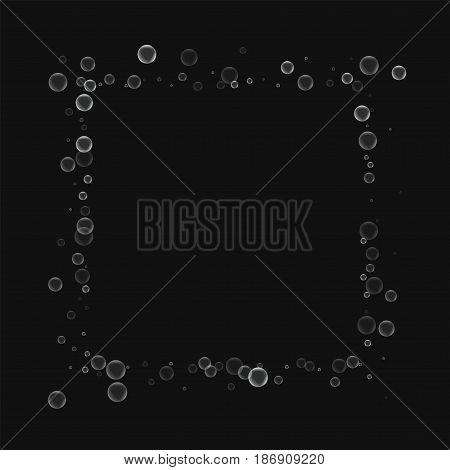 Soap Bubbles. Square Abstract Border With Soap Bubbles On Black Background. Vector Illustration.