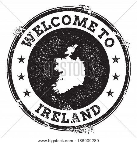 Vintage Passport Welcome Stamp With Ireland Map. Grunge Rubber Stamp With Welcome To Ireland Text, V