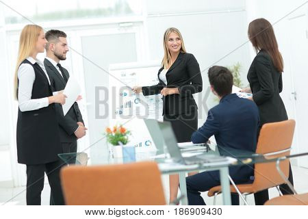 Manager of the company holds a working meeting