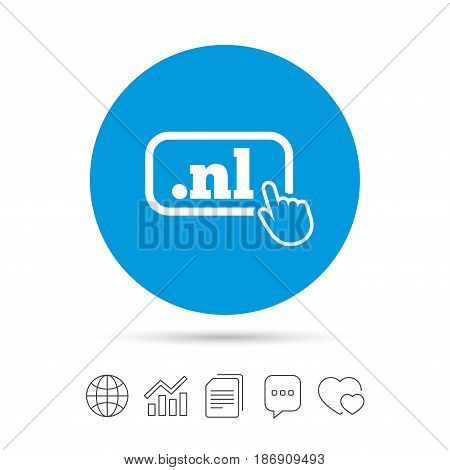 Domain NL sign icon. Top-level internet domain symbol with hand pointer. Copy files, chat speech bubble and chart web icons. Vector