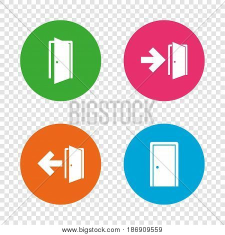 Doors icons. Emergency exit with arrow symbols. Fire exit signs. Round buttons on transparent background. Vector
