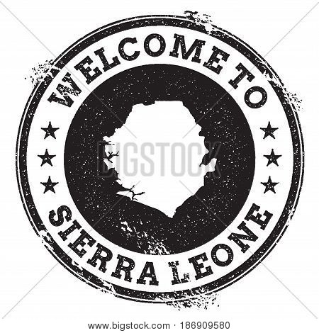 Vintage Passport Welcome Stamp With Sierra Leone Map. Grunge Rubber Stamp With Welcome To Sierra Leo