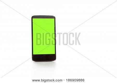 showing smartphone with green screen. Isolated on white background