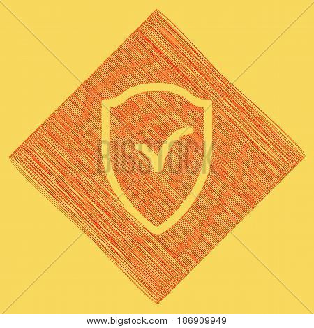 Shield sign as protection and insurance symbol. Vector. Red scribble icon obtained as a result of subtraction rhomb and path. Royal yellow background.