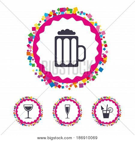 Web buttons with confetti pieces. Alcoholic drinks icons. Champagne sparkling wine and beer symbols. Wine glass and cocktail signs. Bright stylish design. Vector