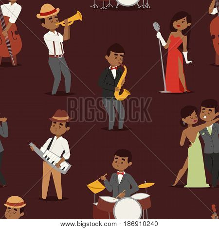 Jazz music band flat seamless pattern group of creative young people playing on instruments blues scene concert vector illustration. Guitar sax cello accordion trombone background