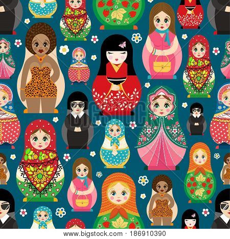 Traditional russian matryoshka nesting doll toy set with handmade ornament figure pattern child face and babushka woman souvenir vector illustration. Bright family gift seamless pattern background