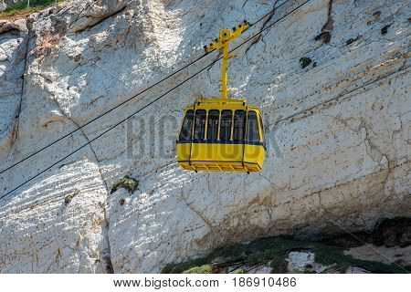 ROSH HANIKRA ISRAEL. Yellow funicular car of the Rosh HaNikra cable railway.
