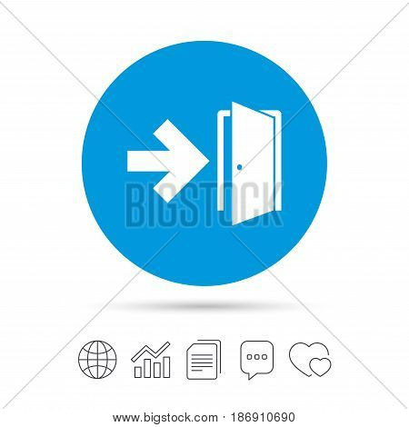 Emergency exit sign icon. Door with right arrow symbol. Fire exit. Copy files, chat speech bubble and chart web icons. Vector